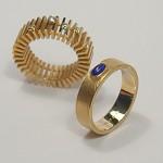 Vielsesringe i guld 585 med brillanter og lapis lasuli